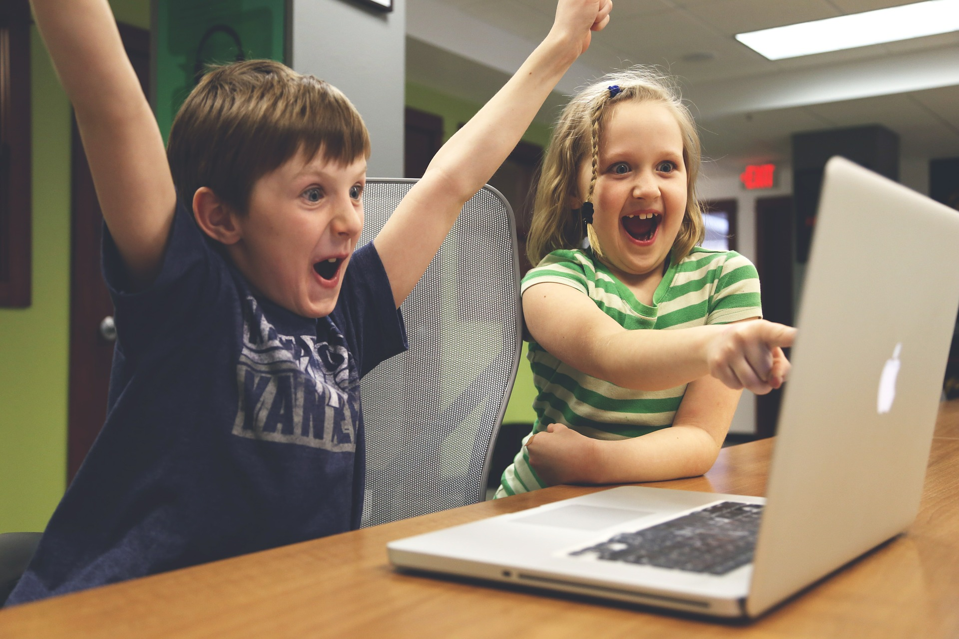 happy children with laptop