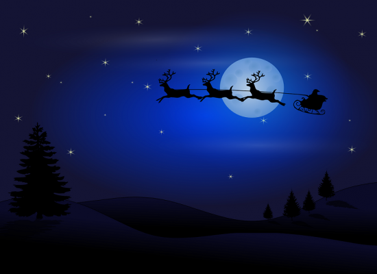 sleigh flying in front of moon